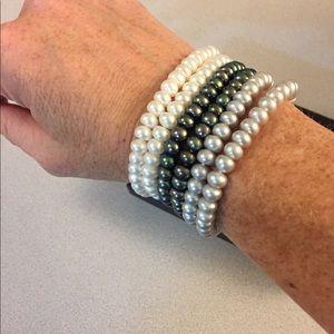 Honora Cultured Pearl 6 Rondel Stretch Bracelets